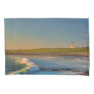 Sunset at Bay lighthouse with ocean waves evening Pillow Case