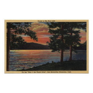 Sunset at Big Bear Lake Poster