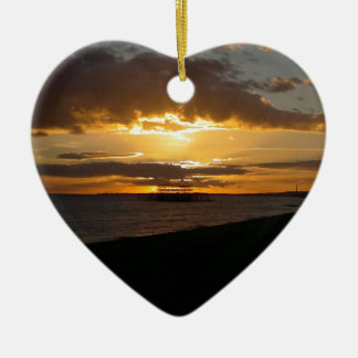 Sunset At Brighton Beach Double-Sided Heart Ceramic Christmas Ornament