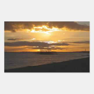 Sunset At Brighton Beach Rectangle Stickers