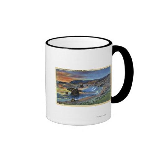 Sunset at Cape San Sabastian on Oregon Coffee Mugs