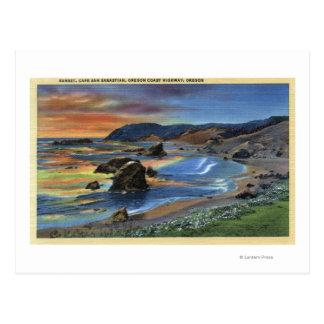 Sunset at Cape San Sabastian on Oregon Postcard