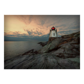 Sunset At Castle Hill Lighthouse Poster