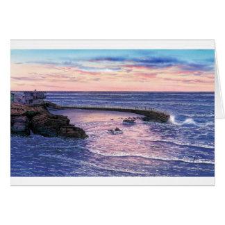 SUNSET AT CHILDREN'S POOL, LA JOLL, CALLIFORNIA GREETING CARD
