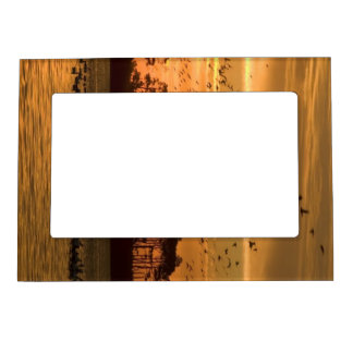 Sunset at Chincoteague Wildlife Refuge Virginia Magnetic Picture Frame