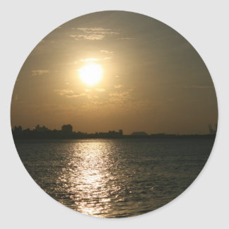 Sunset at Danshui, Taipei County, Taiwan Classic Round Sticker