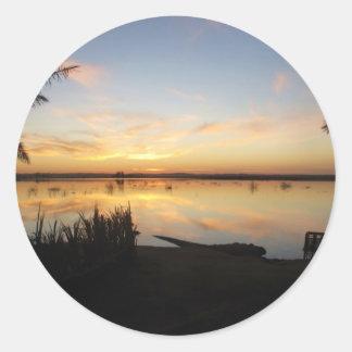 Sunset at Fatnas Island, Siwa Oasis, Africa Classic Round Sticker
