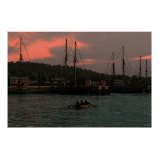 Sunset at Fishing Harbour Poster