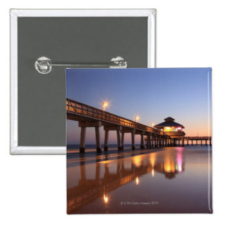 Sunset at Fishing Pier, Fort Myers Beach, 2 Inch Square Button
