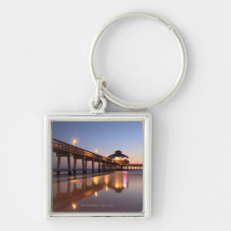 Sunset at Fishing Pier, Fort Myers Beach, Key Chain