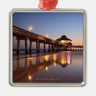 Sunset at Fishing Pier, Fort Myers Beach, Metal Ornament