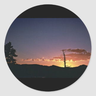 Sunset at Flaming Gorge in Utah Round Sticker