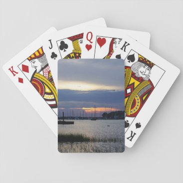 Sunset At Folly Harbor Playing Cards