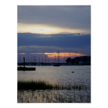Sunset At Folly Harbor Poster