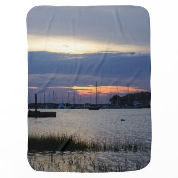Sunset At Folly Harbor Swaddle Blanket