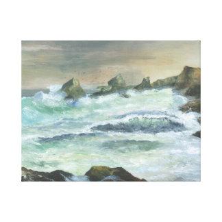Sunset at Gull Rock from Trebartwith Strand Cornwa Canvas Print