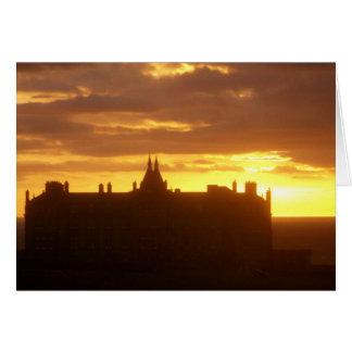 Sunset at Headland Hotel Newquay Cornwall Blank Card