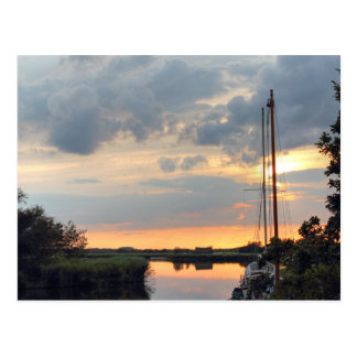 Sunset at horsey mere postcard