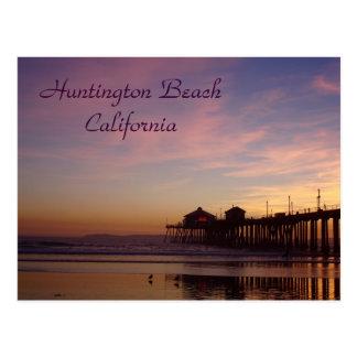 Sunset at Huntington Beach Pier, California Postcard