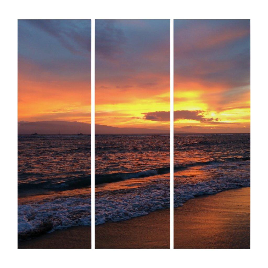 Sunset at Lahaina, Hawaii Triptych Wall Art (3) 36