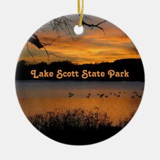 Sunset at Lake Scott State Park - Geese on Lake Ceramic Ornament