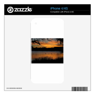 Sunset at Lake Scott State Park - Geese on Lake iPhone 4 Decal