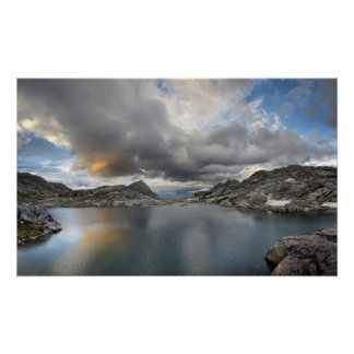 Sunset at Middle Nydiver Lake - Sierra Poster