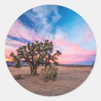 Sunset at Mojave Round Stickers