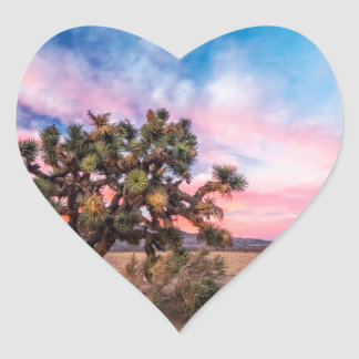 Sunset at Mojave Heart Sticker