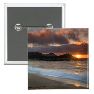 Sunset at Monastery Beach, Carmel, California, 2 Inch Square Button