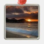 Sunset at Monastery Beach, Carmel, California, Christmas Tree Ornaments
