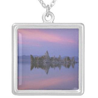 Sunset at Mono Lake, CA. Square Pendant Necklace
