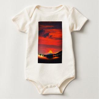 sunset at mystical mount fuji japan  crayons baby bodysuit