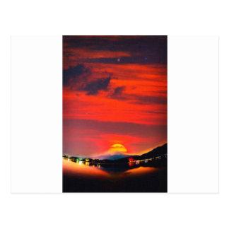 sunset at mystical mount fuji japan  crayons postcard