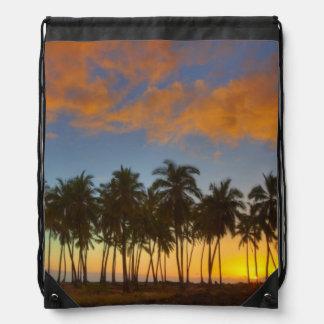 Sunset at National Historic Park Pu'uhonua o Drawstring Backpacks