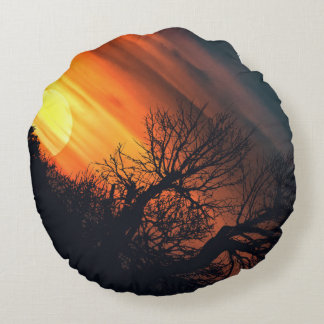 Sunset at Nature Landscape Round Pillow