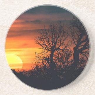 Sunset at Nature Landscape Scene Sandstone Coaster
