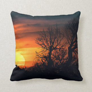 Sunset at Nature Landscape Throw Pillow