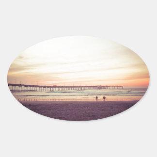 Sunset at Ocean Beach, California Oval Sticker