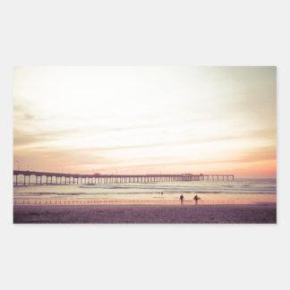 Sunset at Ocean Beach, California Rectangular Sticker