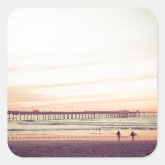 Sunset at Ocean Beach, California Square Sticker