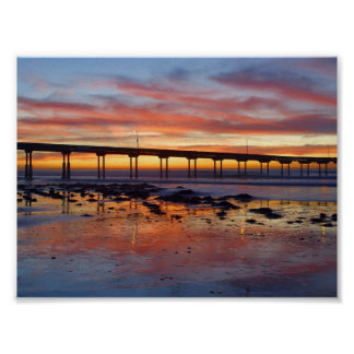 Sunset At Ocean Beach Print