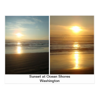 Sunset at Ocean Shores Washington Postcard