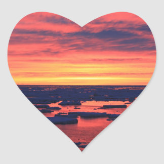 Sunset at Palmer Station Heart Sticker