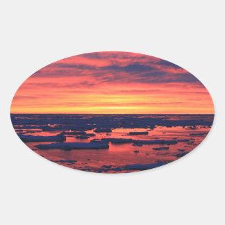 Sunset at Palmer Station Oval Sticker