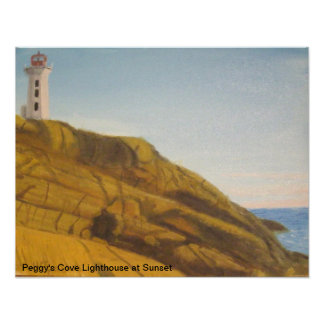sunset at Peggy's Cove Lighthouse Poster