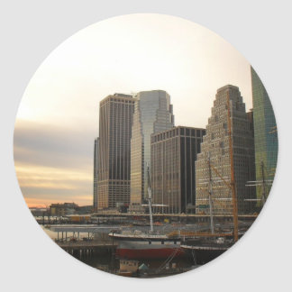 Sunset at Pier 17, South Street Seaport, New York Round Stickers