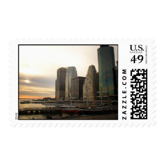 Sunset at Pier 17, South Street Seaport, NYC Postage Stamp