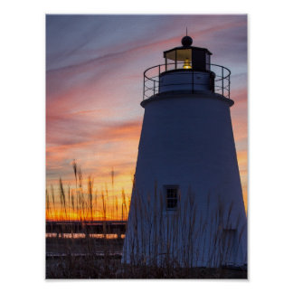 Sunset at Piney Point Lighthouse Poster
