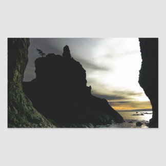 Sunset at Rialto Beach Olympic National Park Rectangular Sticker